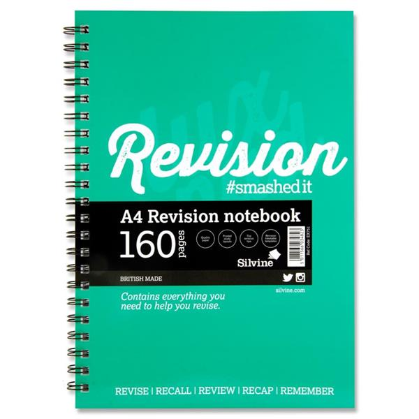 Silvine A4 Revision Notebook 160 Pages
