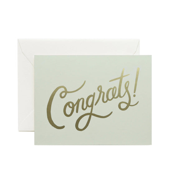 Congrats Gold Script Rifle Paper Co Letterpress Card