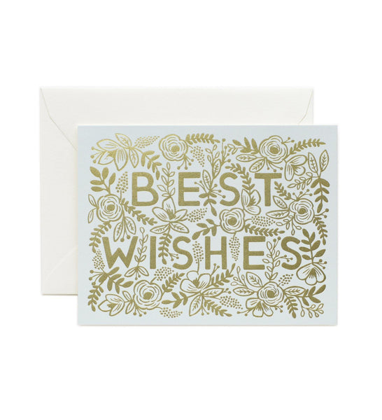 Golden Best Wishes Rifle Paper Co Letterpress Card
