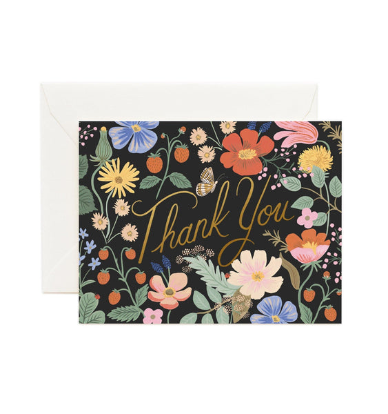 Strawberry Fields Thank You Rifle Paper Co Letterpress Card