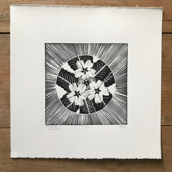 Primrose (Sabhaircín) Irish Wildflower Lino Cut Print | Original Handmade & Limited Edition by Mary Callaghan