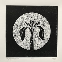 Yellow Flag Irish (Feileastram) Irish Wildflower Lino Cut Print | Original Handmade & Limited Edition by Mary Callaghan