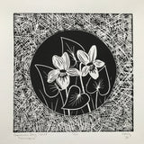 Dog-Violet (Fanaigse) Irish Wildflower Lino Cut Print | Original Handmade & Limited Edition by Mary Callaghan