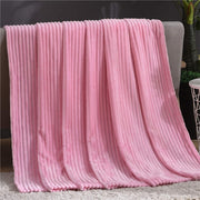 Jagdambe Striped Flannel Blankets For Beds Solid Coral Fleece Throw Winter Bed Linen Sofa Cover Bedspread Soft Fluffy Blankets