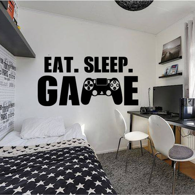 Gamer wall decal Eat Sleep Game wall decal Controller video game wall decals Customized For Kids Bedroom Vinyl Wall Art A1-011