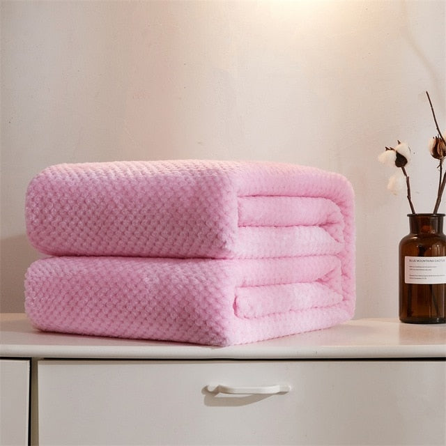 Winter Soft Warm Flannel Blankets For Beds Solid Pink Blue Color Coral Fleece Mink Throw Sofa Cover Bedspread Plaid Blankets
