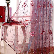 French Romantic Shining Butterfly Embroidered Voile Curtain Panel Window