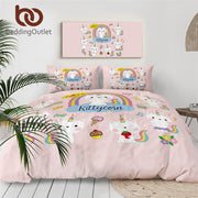 BeddingOutlet Cartoon Pink Bedding Set for Kid Animal Unicorn Bed Set Cute Cat Duvet Cover Rainbow Horn Home Bedclothes Dropship