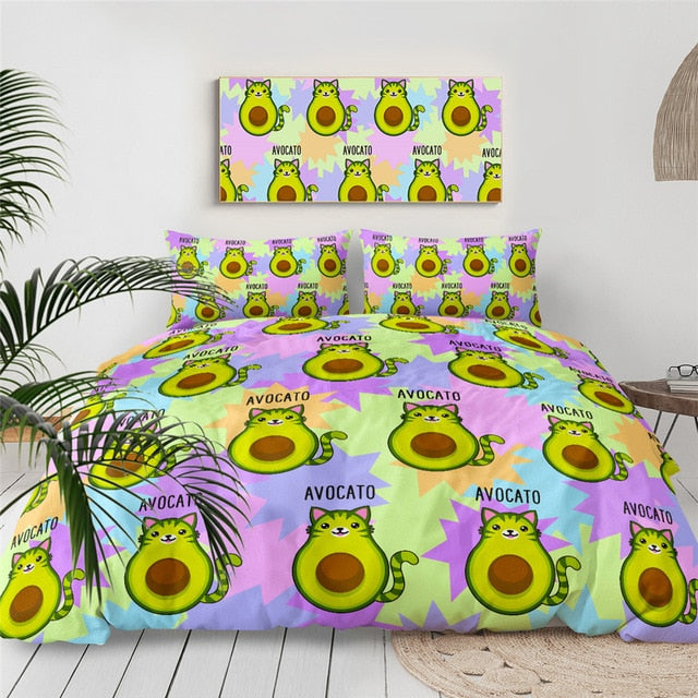 BeddingOutlet Avocado Cartoon Bedding Set for Kids Avocato Duvet Cover Queen Green Cat Tail Bed Set Colorful Home Textiles 3pcs