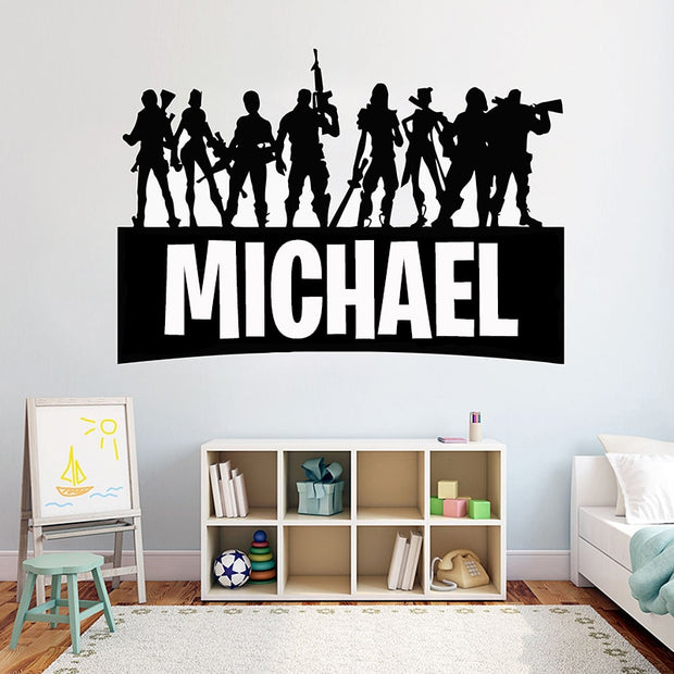 Game Gamer Personalised Name wall Decor Decal video game wall sticker Customized For Kids Bedroom Vinyl Wall Decor Mural G922