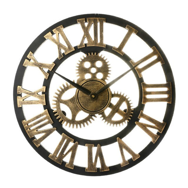 40/45/50/58cm Vintage European Wall Clock Handmade Retro Decorative Luxury Art Big Gear Wooden Large Wall Clock Decoration Gift