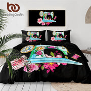 BeddingOutlet Sewing Machine Bedding Set Pink Flowers Duvet Cover With Pillowcases Watercolor Bed Set 3-Piece Black Bedclothes