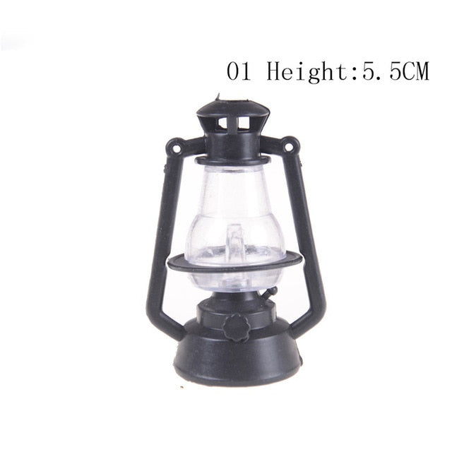 Miniature Table Candlestick Retro Kerosene Lamp Doll House Lamps Decor Accessories Dollhouse Furniture Toys