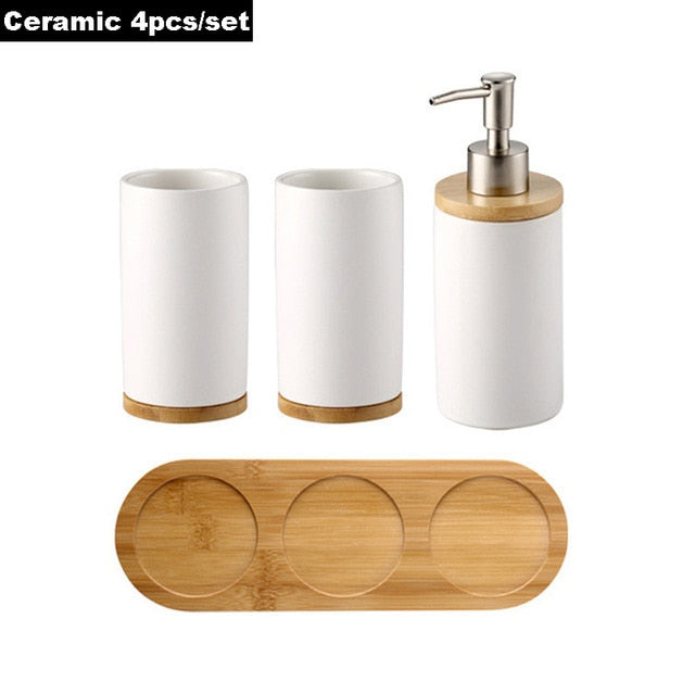 GOALONE Bamboo Bathroom Accessories Toothbrush Holder Soap Dispenser Toilet Brush Bathroom Set Bathroom Decoration Accessories