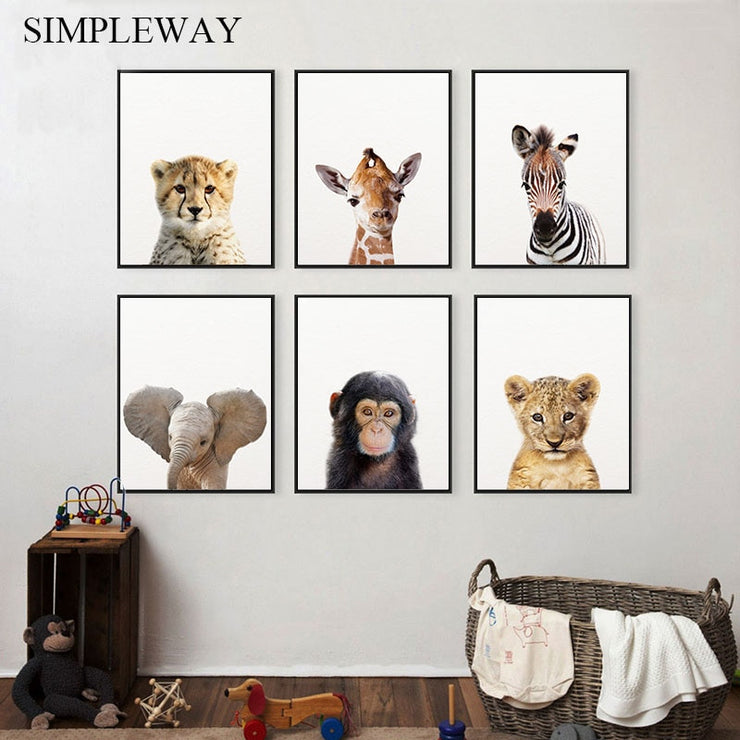 Baby Animal Cheetah Monkey Elephant Canvas Child Poster Nursery Wall Art Print Painting Nordic Kid Bedroom Decoration Picture