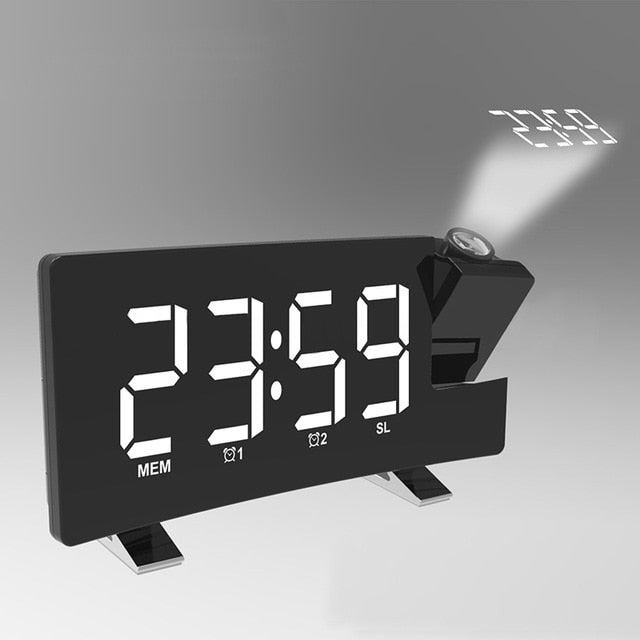 Projection Alarm Clock Digital Ceiling Display 180 Degree Projector Dimmer Radio Battery Backup