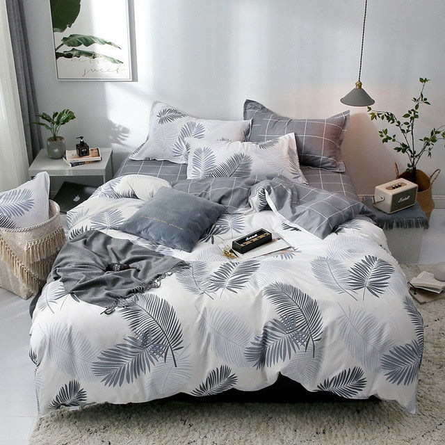 Tropical Leaf Plaids Geometric 4pcs Bed Cover Set Cartoon Duvet Cover Bed Sheets And Pillowcases Comforter Bedding Set 61001