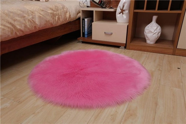 Sholisa Faux Fur Area Rug Fluffy Carpet  Round Shape 6cm Pile Fluffy Carpet for Living Room Bedroom Sea Set Home Deco