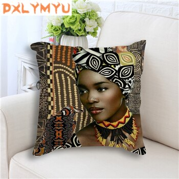 Decorative Cushion Colorful African Women Art Painting Decorative Sofa Throw Pillow Cotton Linen Cushion Sofa Car Home Decor