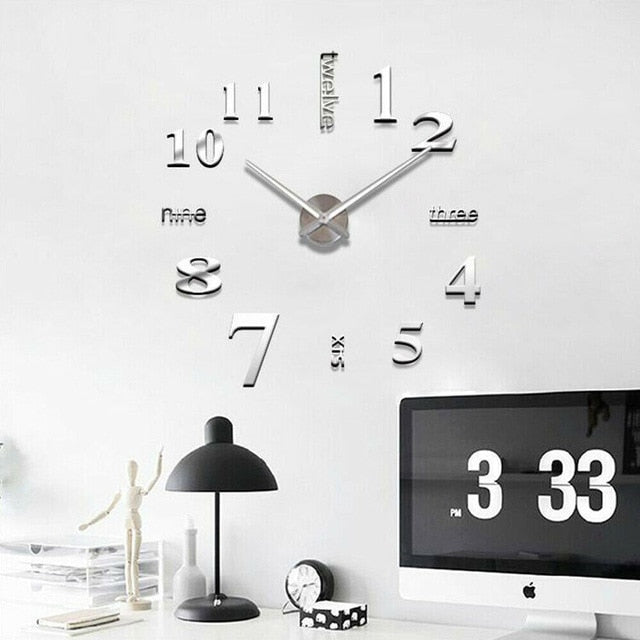 Modern DIY 2019 new real living room clocks 3d mirror sticke Big wall clock home decoration acrylic diy watch stickers