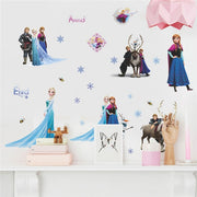 Cartoon diy frozen princess Elsa Anna wall stickers girl Children room background decoration removable kids bedroom poster decal