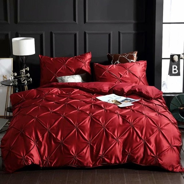 Denisroom Solid color Linens Silk Washed Bedding set Luxury Duvet Cover Double Bed Coverlet Queen Size Bed Sheets set Comforters
