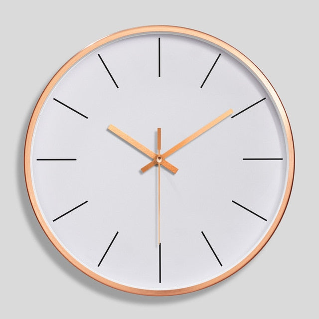 12 Inch Rose Gold Wall Clock Modern Minimalist Round Clock Plastic Wall Clock Mute Quartz Clock Home Decorate