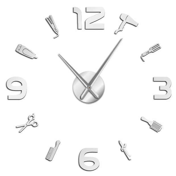 Barber Shop Giant DIY Wall Clock Mirror Surface Barber Toolkits Decorative Wall Watch Hairdresser Gift Beauty Salon Wall Art