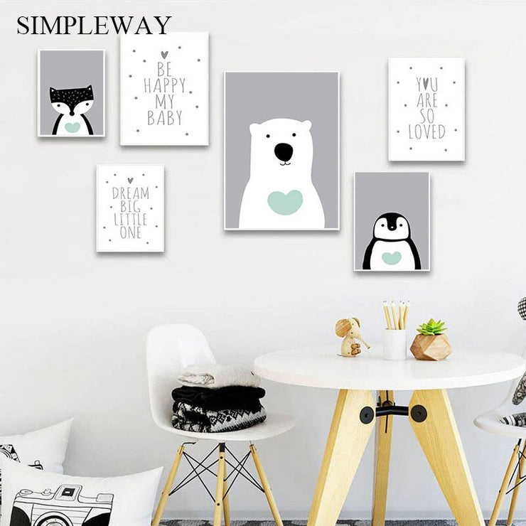 Penguin Polar Bear Cartoon Animal Painting Nursery Quotes Poster Canvas Print Wall Art Picture Nordic Kids Baby Bedroom Decor