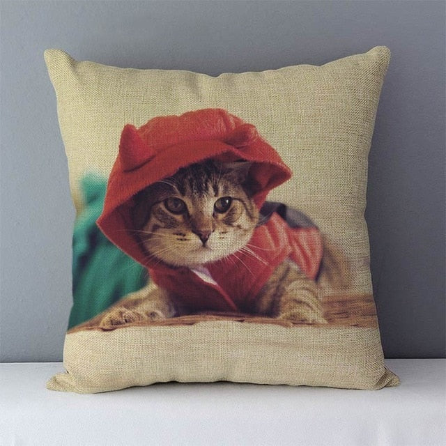 Selected Couch cushion Cartoon cat printed quality cotton linen home decorative pillows kids bedroom Decor pillowcase wholesale