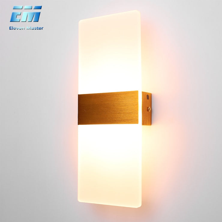 Mini 3/6/12W Led Acrylic Wall Lamp AC85-265V Long warm white Bedding Room Living Room Indoor wall lamp ZBD0028