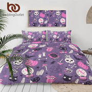 BeddingOutlet Black Magic Bedding Set Witchcraft Bedspread Crystal Ball Duvet Cover Skull Bats Bed Set Witching Purple Bedlinen