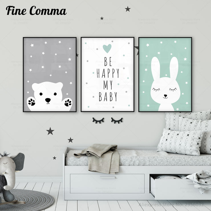 Baby Nursery Wall Art Canvas Poster Print Nordic Kids Decoration Picture Children Bedroom Decor Cartoon Rabbit Bear Painting Art