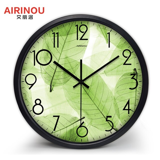 Airinou New Design Green Wall Clock Translucent Leaf  Nature Quite Living Room Quartz Glass Silent Home Decor Clock