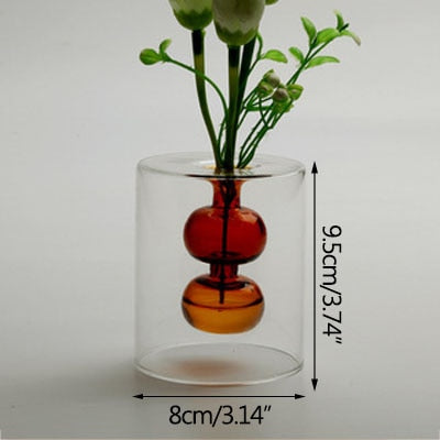 Strongwell Nordic Double-Layer Color Glass Vase Desktop Hydroponic Flower Vase Ornament Home Decoration Birthday Wedding Gift