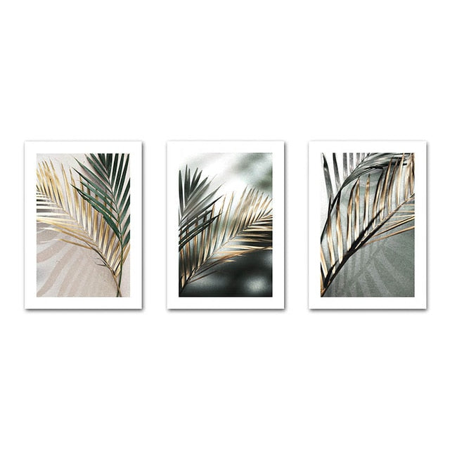Golden palm leaf plant canvas painting botanical nordic