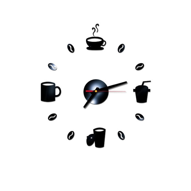 40cm Diam 3D Mirror Wall Clock Self Adhesive Modern Mute Acrylic Art Analog Kitchen DIY Coffee Cups Decor Gold/Sliver/Black/Red