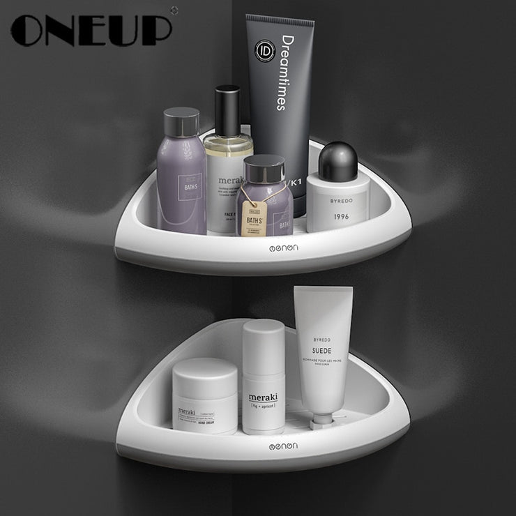 ONEUP Bathroom Storage Corner Shelf Punch-free Triangular Shelves Holder Shower Shampoo Kitchen Rack Holder Bathroom Accessories