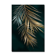 Nordic Decoration Golden Leaf Canvas Abstract
