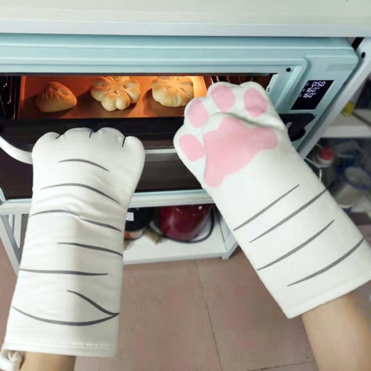 3D Cartoon Cat Paws Oven Mitts Long Cotton Baking Insulation Microwave Heat Resistant Non-slip Gloves Animal 1PC
