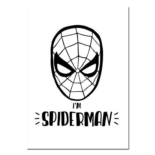 Black White Cartoon Superheroes Canvas Posters and Prints Batman Wall Art Painting Nordic Kids Decoration Pictures for Baby Room