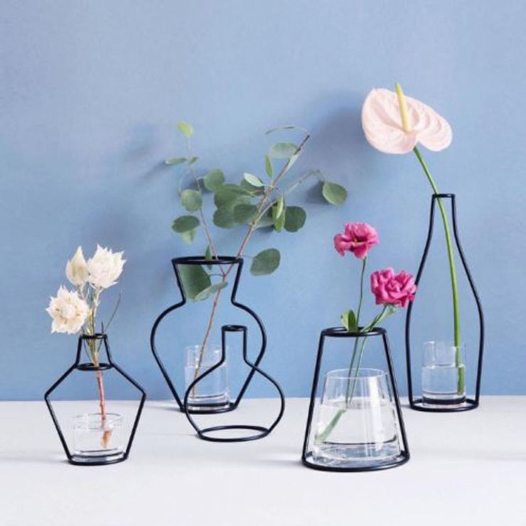 Brand New Style Retro Iron Line Flowers Vase Metal Plant Holder Modern Solid Home Decor Nordic Styles Iron Vase