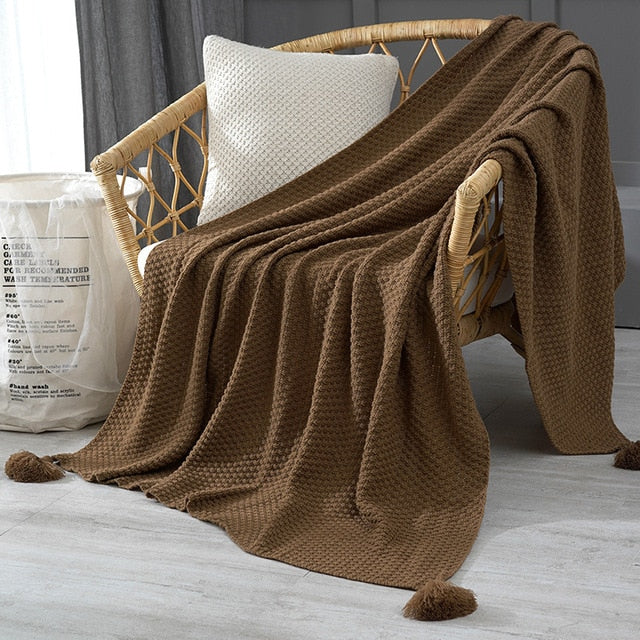 Thread Blanket with Tassel Solid Beige Grey Coffee