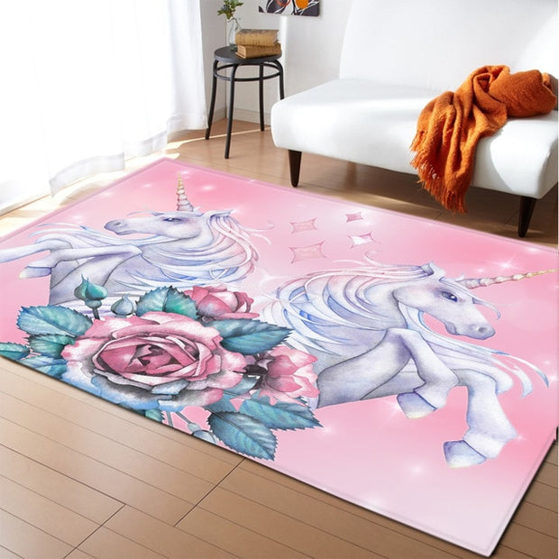 Unicorn 3D Printed Carpet Cartoon Child Bedroom Play Mat Soft Flannel Memory Foam Girl Room Area Rug and Carpets for Living Room