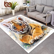 BeddingOutlet Tiger Baby Area Rug Watercolor Living Room Carpet Wild Animal Non-slip Floor Mat Black White Rugs Home Decor tapis