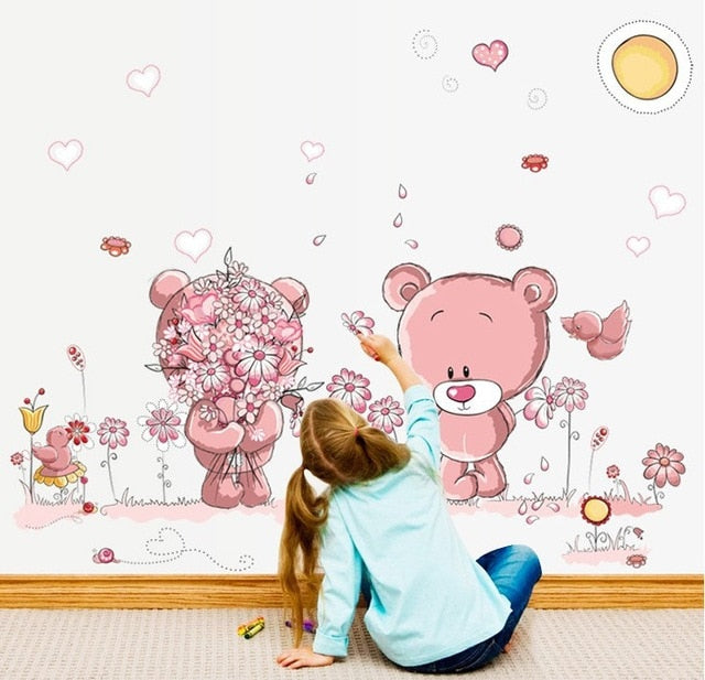 Pink Cartoon Cat Rabbit Flower Wall Sticker For Baby Girls Kids Rooms Home Decor Teddy Bear Umbrella Classroom Wall Decals