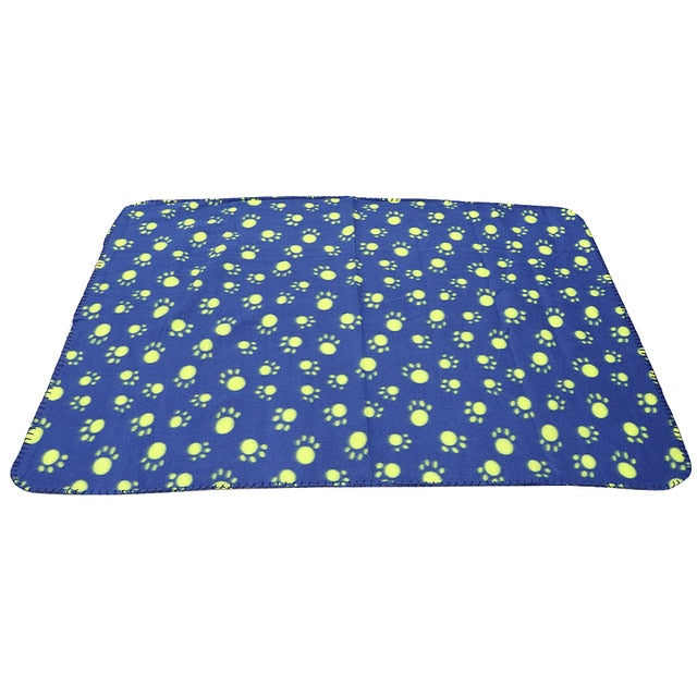 Paw Print Dog Blanket Soft Warm Dog Cat Bed Mat Puppy Dogs Sleeping Blankets Bath Towel For Small Medium Large Dogs Cats Pug