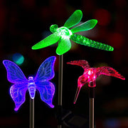 Multicolor led Solar Stake Lights Outdoor Dragonfly/Butterfly/Bird Lawn Lamps Outdoor Garden Lawn Landscape Pathway Lights