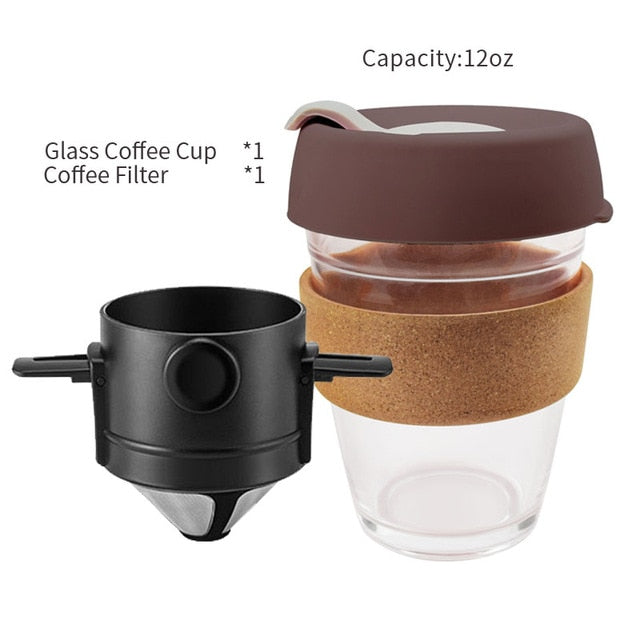 Coffee Filter Portable 304 Stainless Steel Drip Coffee Tea Holder Funnel Baskets Reusable Tea Infuser and Stand Coffee Dripper