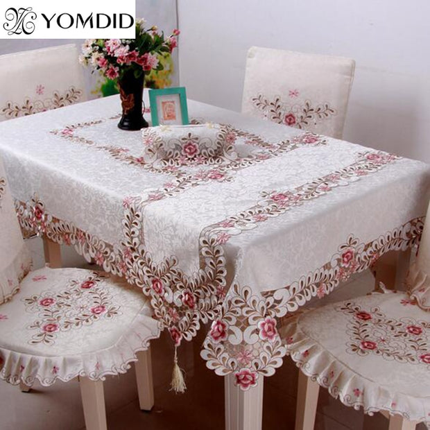 Embroidered Floral Lace Tablecloth Europe Style Edge Dustproof Table Cloth for Wedding Home Party Table Cloths High Quality